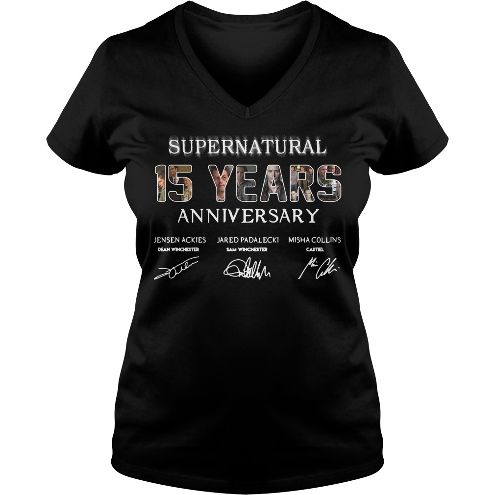 Supernatural 15 years anniversary Jensen Ackles Jared Padalecki Misha Collins signature V-neck T-shirt