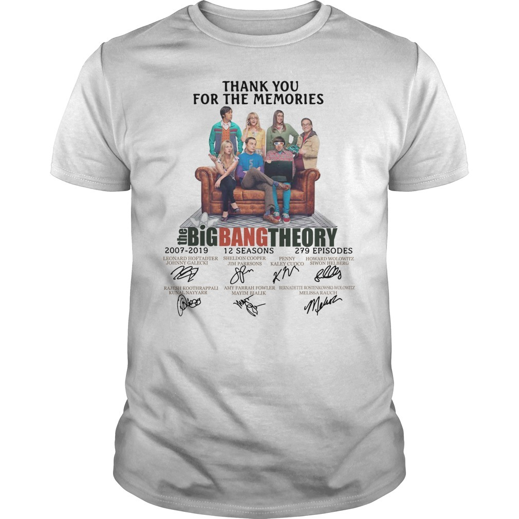 Thank you for memories the Big Bang Theory 2007-2019 signature Guys shirt