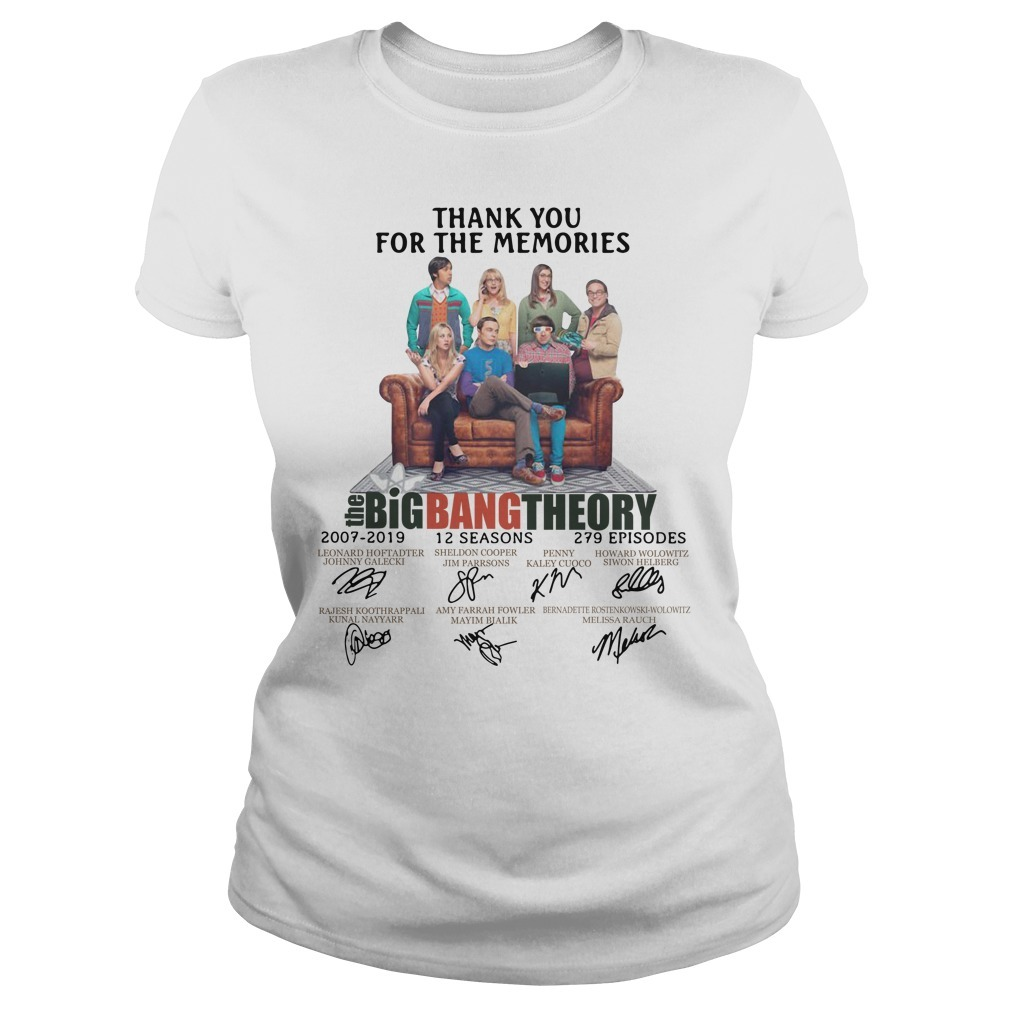Thank you for memories the Big Bang Theory 2007-2019 signature Ladies Tee