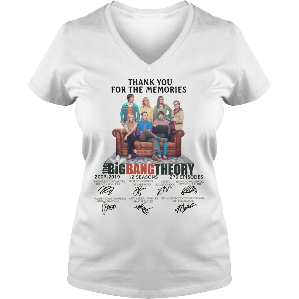 Thank you for memories the Big Bang Theory 2007-2019 signature V-neck T-shirt