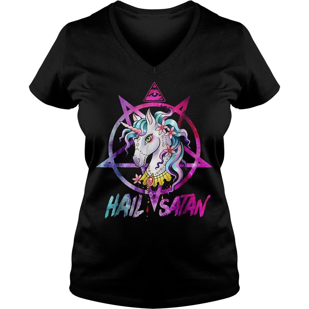 Unicorn hail Satan death metal rainbow V-neck T-shirt