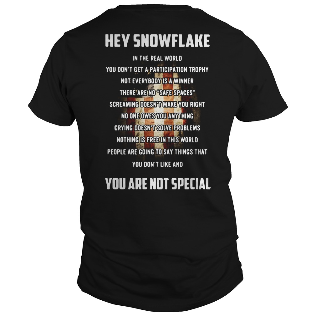 Veteran hey snowflake you are not special Guys shirt