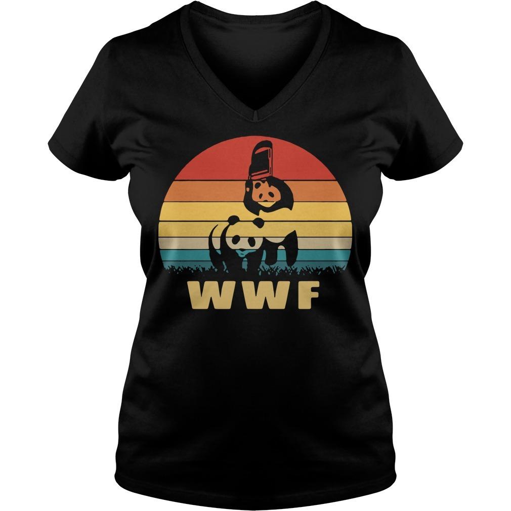 WWF wrestling panda vintage V-neck T-shirt