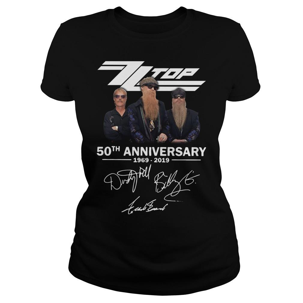 Zz top 50th anniversary 1969-2019 signature Ladies Tee