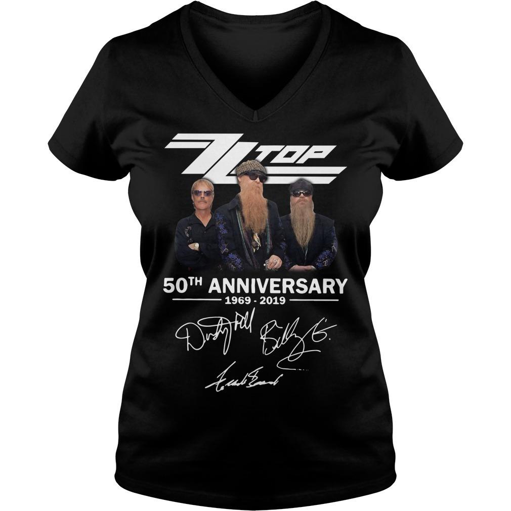 Zz top 50th anniversary 1969-2019 signature V-neck T-shirt