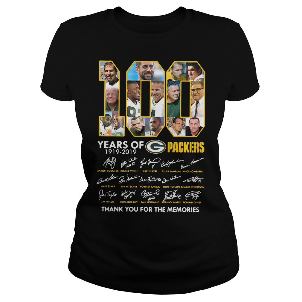 100 Years of Green Bay Packers 1919-2019 thank you for the memories signature Ladies Tee