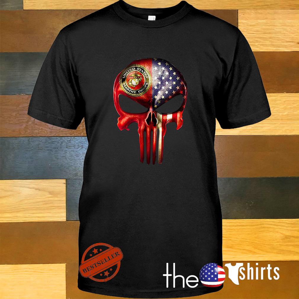 U.S. Marine skull and American flag all over shirt