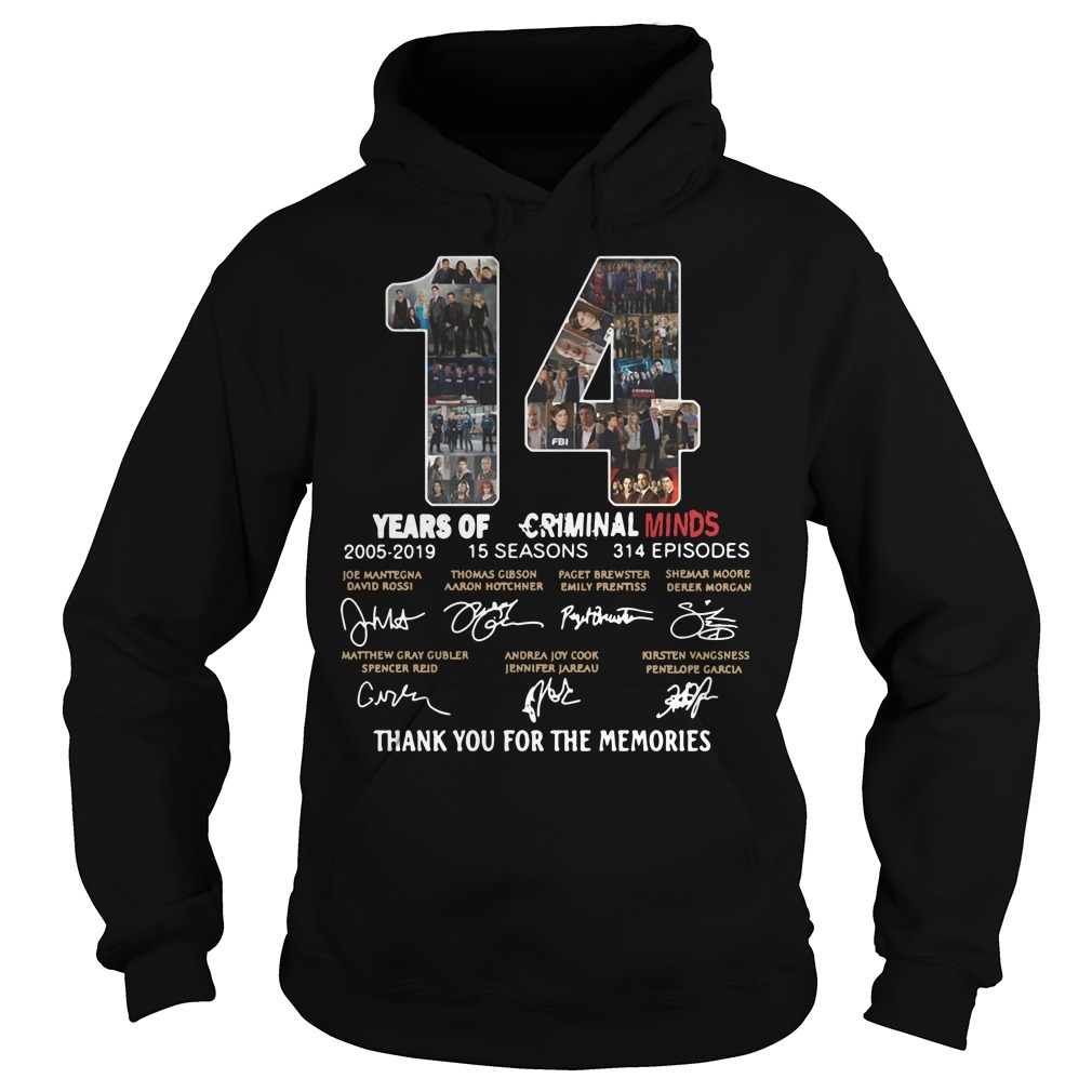 14 Years of Criminal Minds 2005-2019 thank you for the memories signature Hoodie