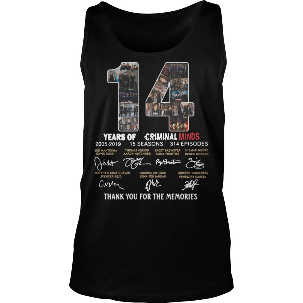 14 Years of Criminal Minds 2005-2019 thank you for the memories signature Tank top