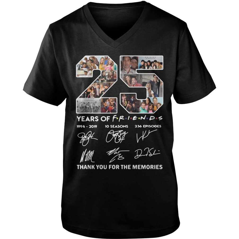 25 Years of Friends 1994 2019 thank you for the memories signature Guy V-Neck