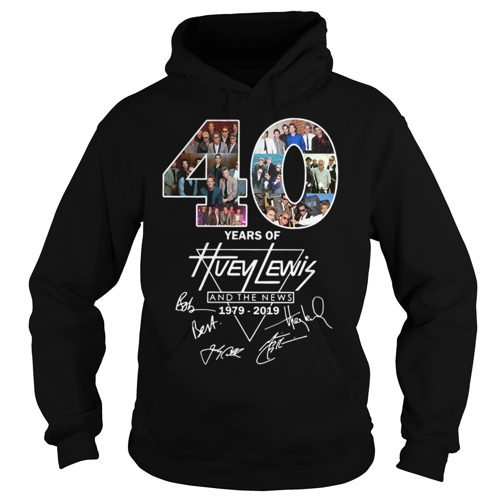 40 Years of Huey Lewis and the news 1979-2019 signature Hoodie