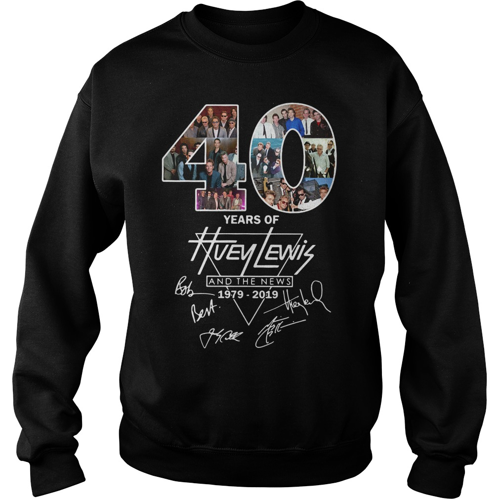 40 Years of Huey Lewis and the news 1979-2019 signature Sweater