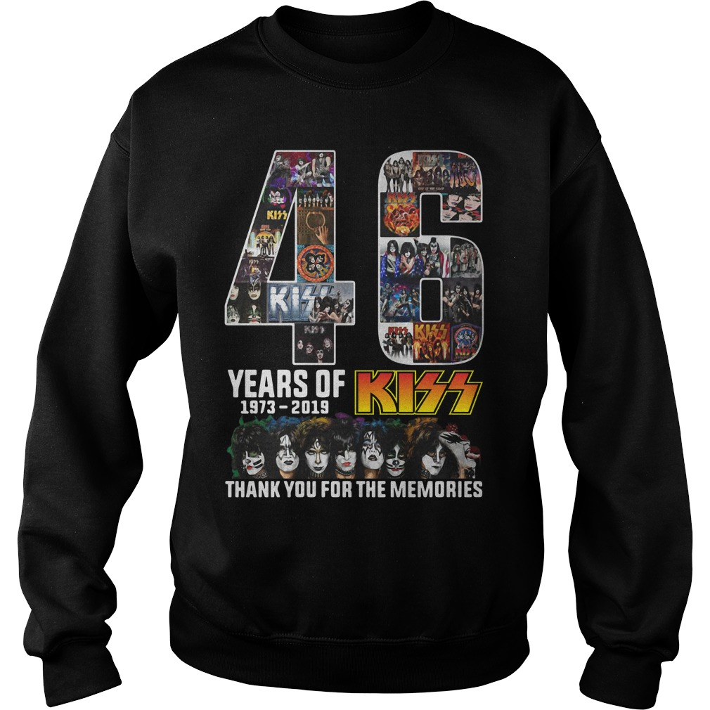 46 Years of 1973-2019 Kiss thank you for the memories signature Sweater