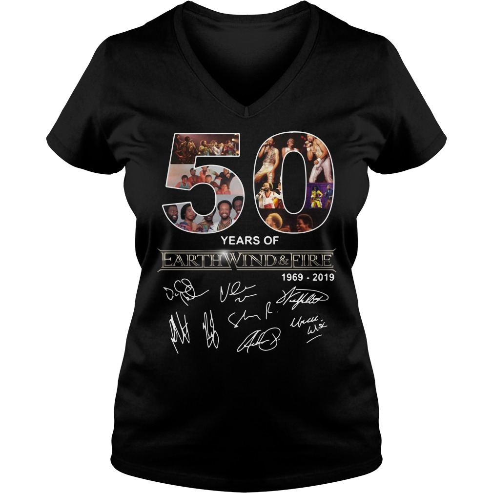 50 Years of Earth Wind and Fire 1969-2019 signature V-neck t-shirt