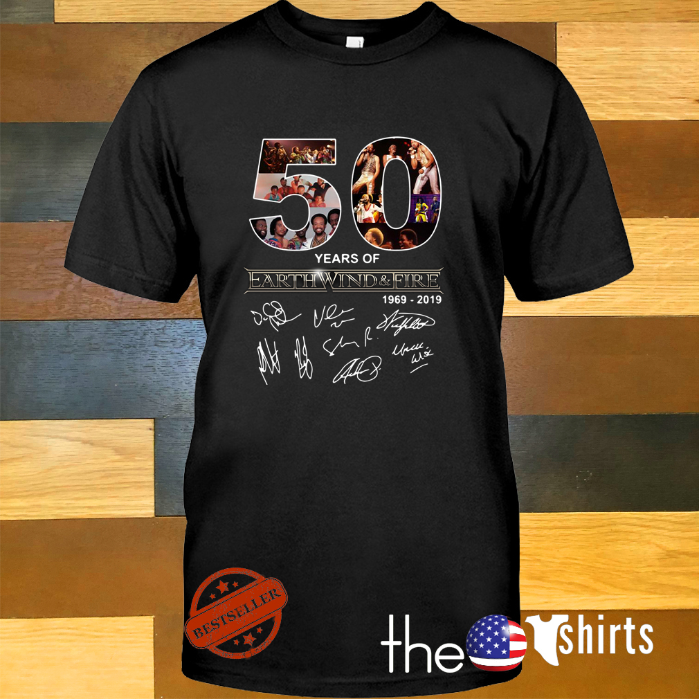 50 Years of Earth Wind and Fire 1969-2019 signature shirt