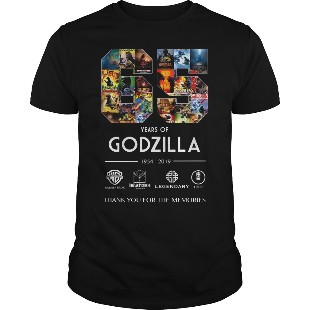 65 Years of Godzilla 1954-2019 thank you for the memories signature shirt