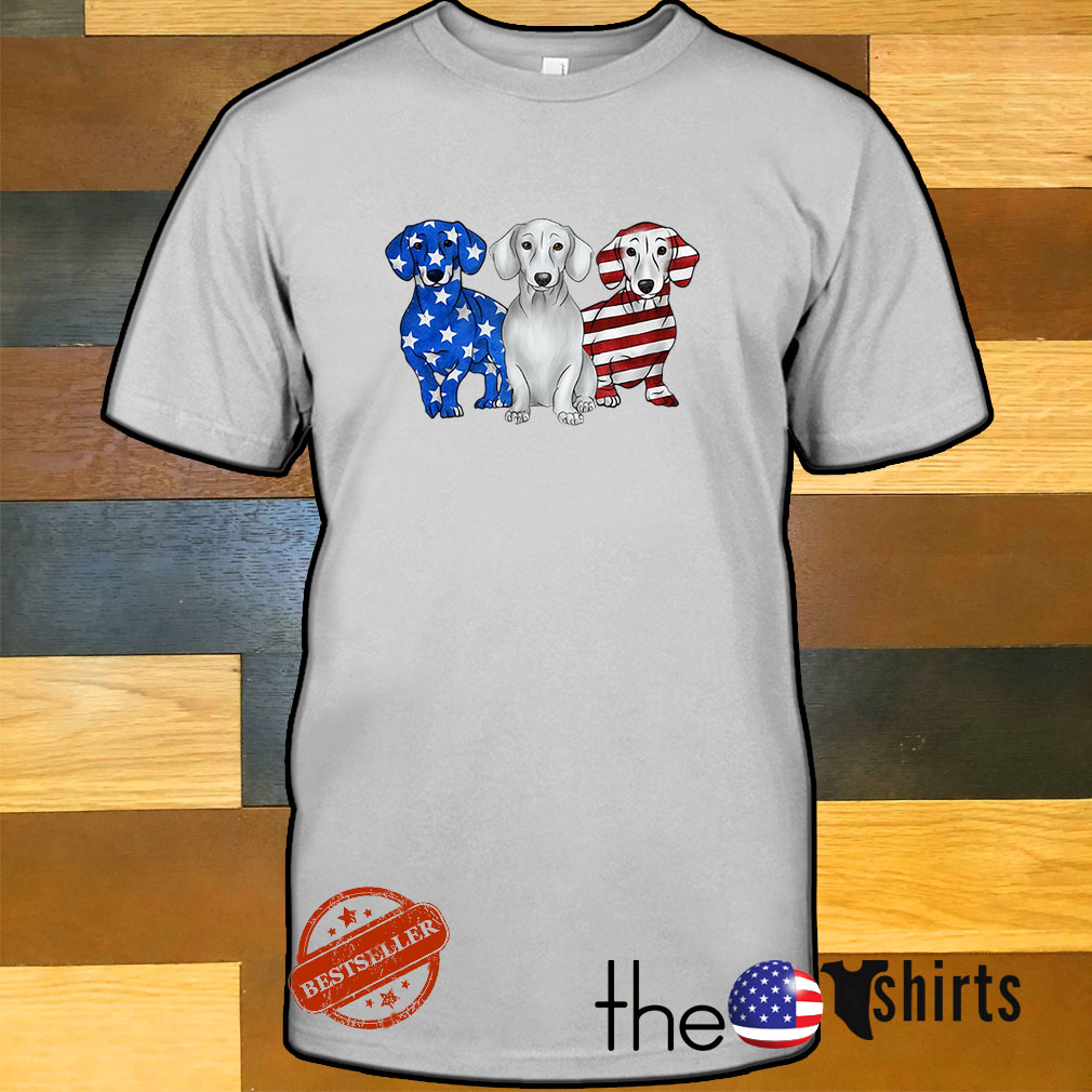 Blue wBlue white and red Dachshund American flag shirthite and red DachshBlue white and red Dachshund American flag shirtund American flag shirt