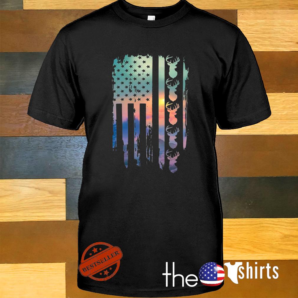 American flag deer hunting shirt