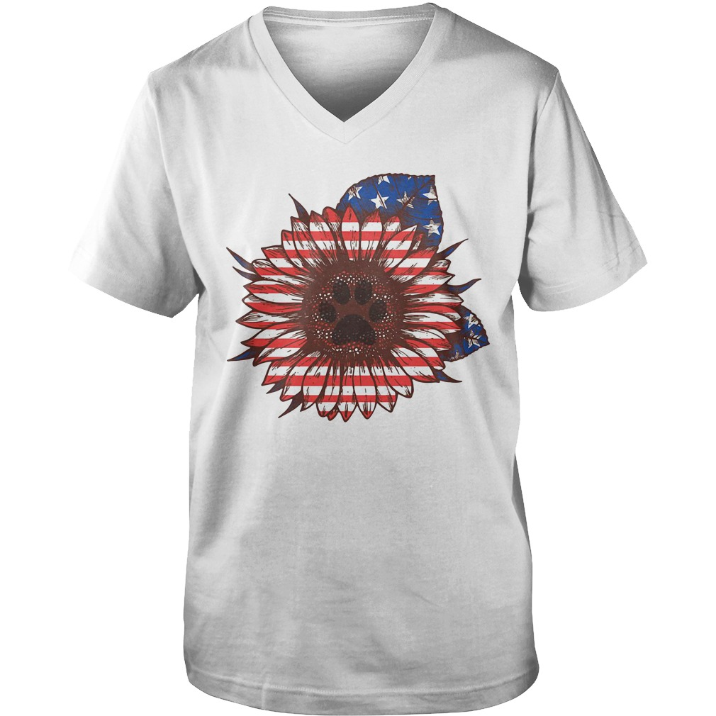 American flag flower Paw dog Guy V-Neck