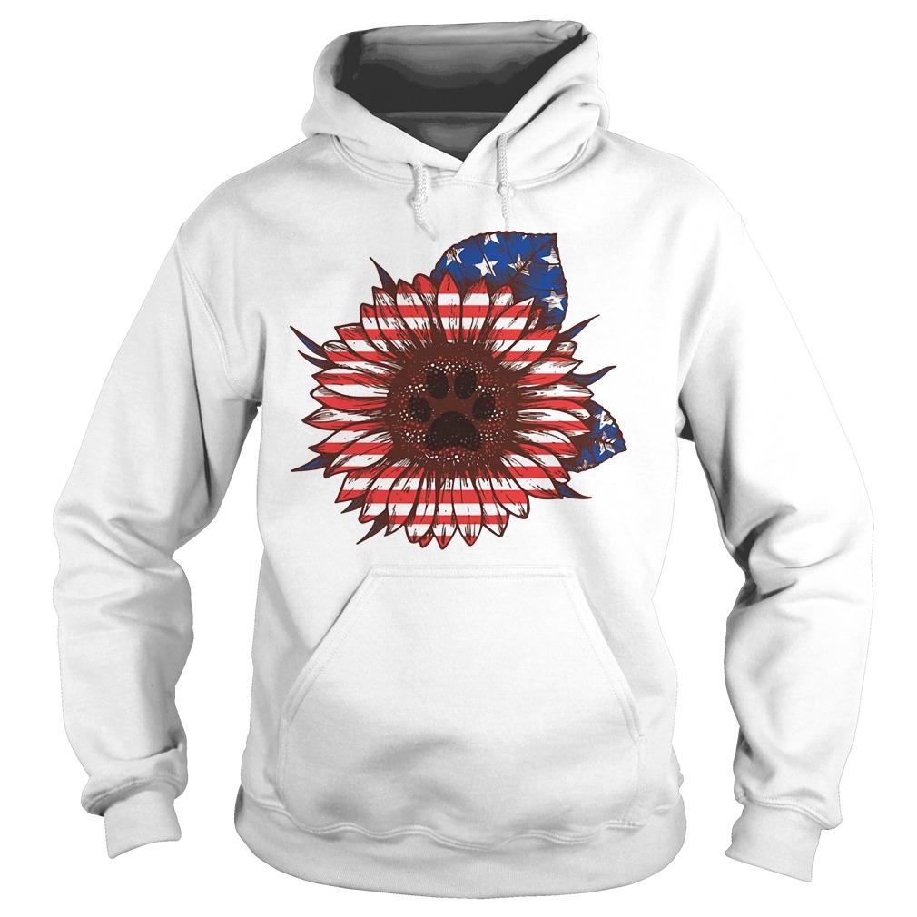 American flag flower Paw dog Hoodie