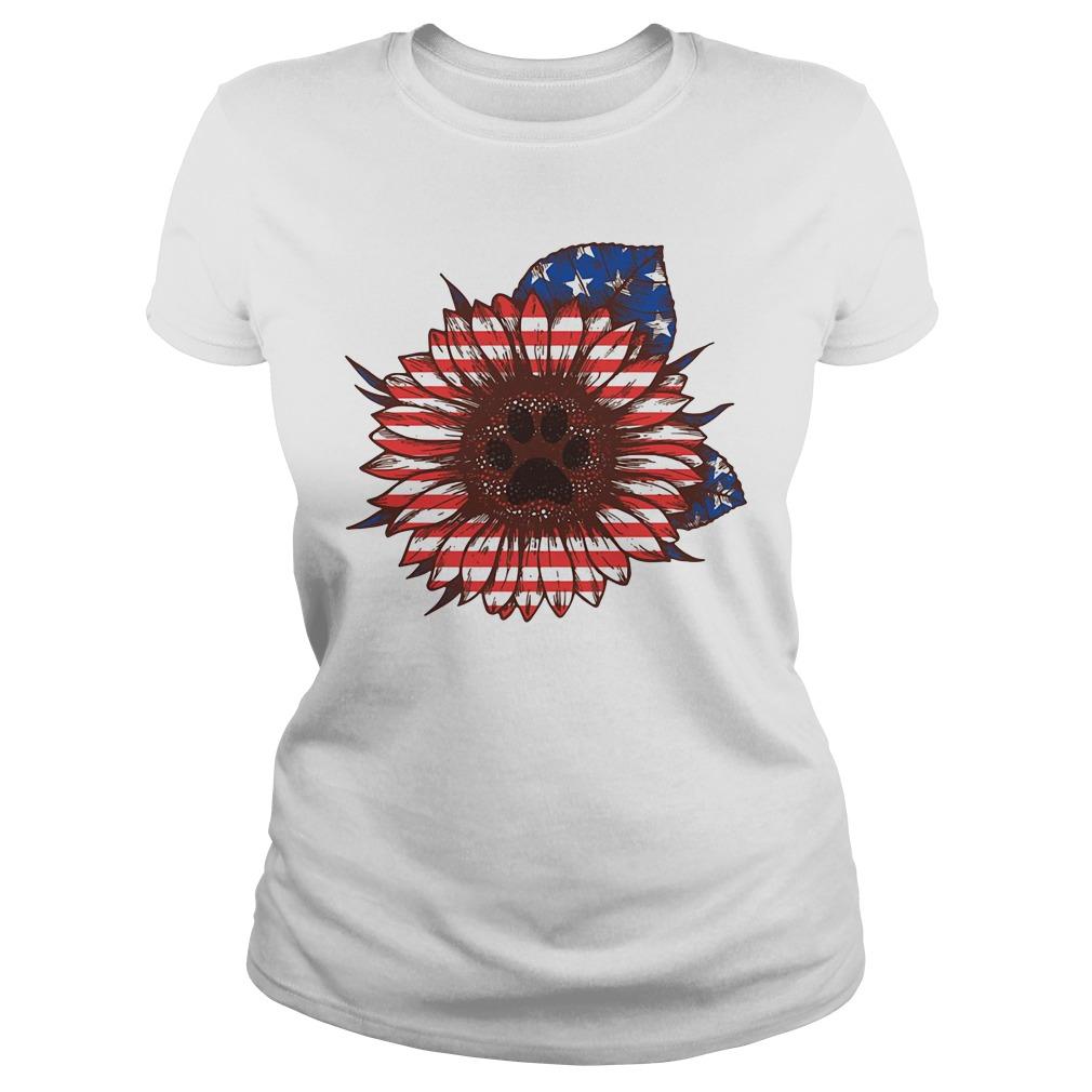 American flag flower Paw dog Ladies Tee