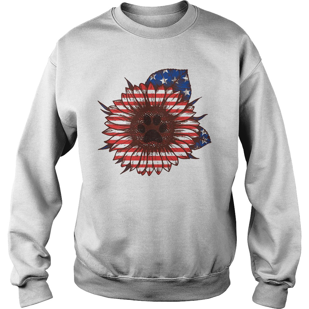American flag flower Paw dog Sweater