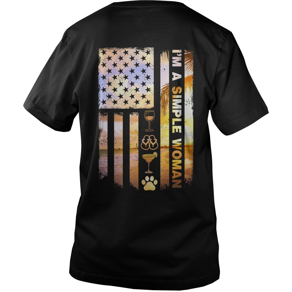 American flag I'm a simple woman I like camping dog paw flip flops and wine Guys V-Neck