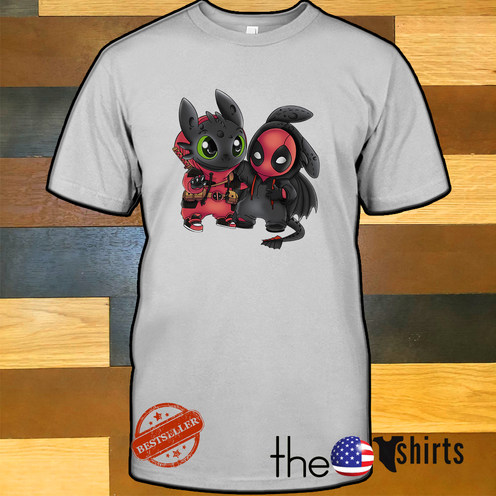 Baby toothless and Deadpool shirt