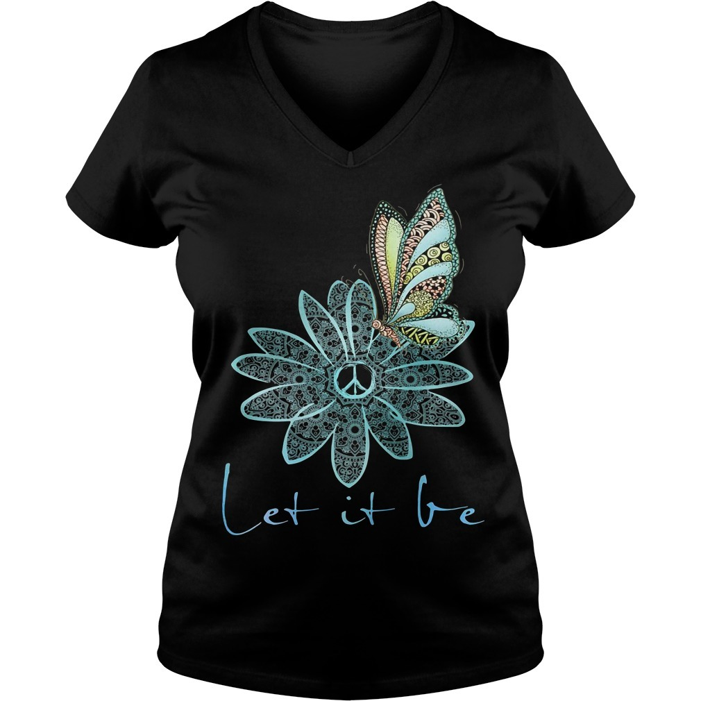 The Beatles flower butterfly let it be V-neck T-shirt