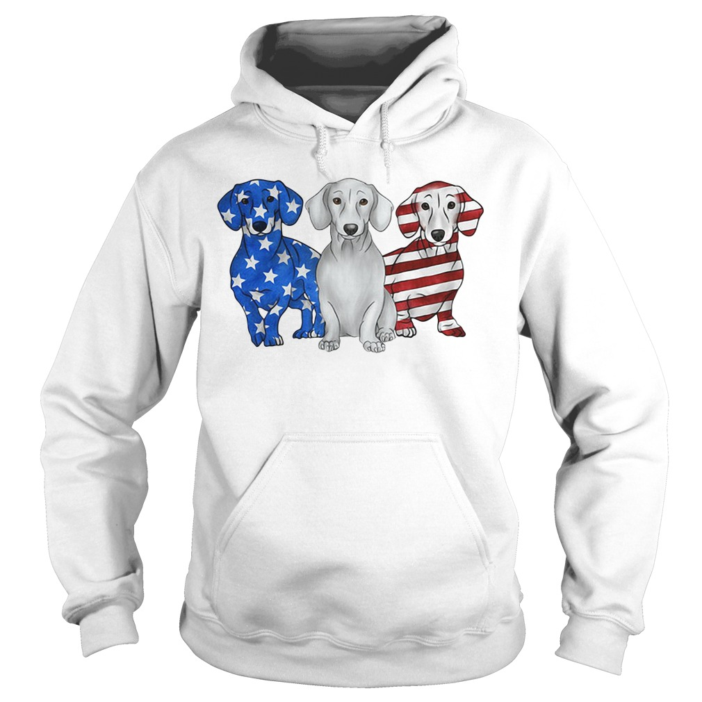 Blue white and red Dachshund American flag Hoodie
