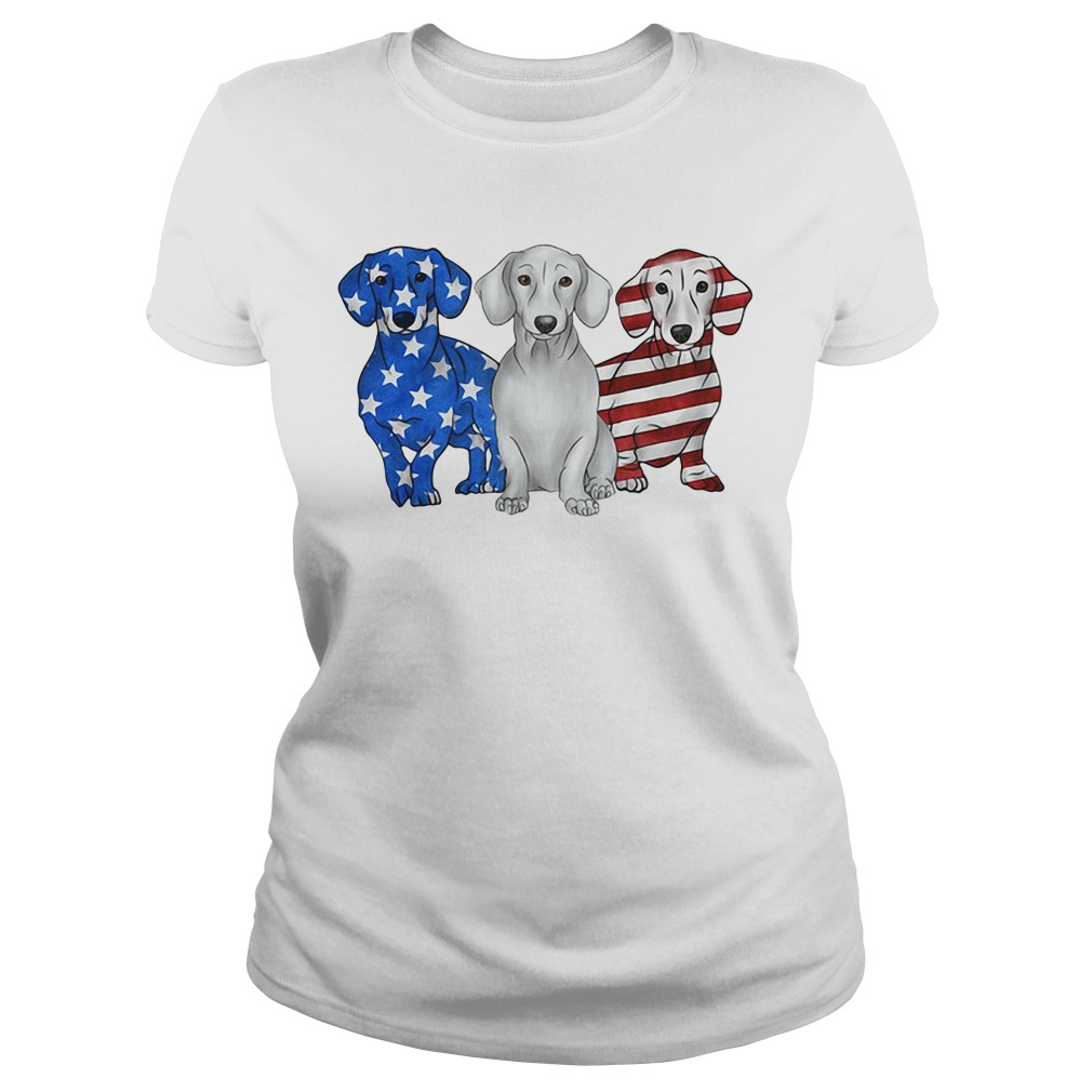 Blue white and red Dachshund American flag Ladies Tee