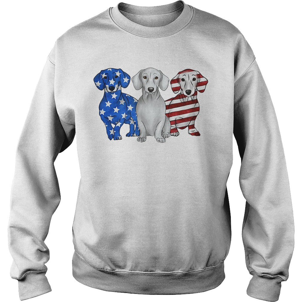 Blue white and red Dachshund American flag Sweater