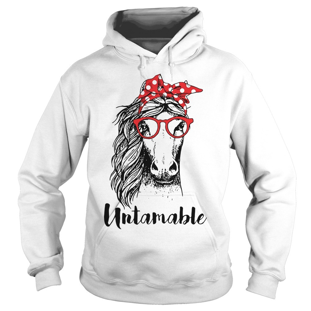 Horse wearing red bandana and red glasses untamable Hoodie