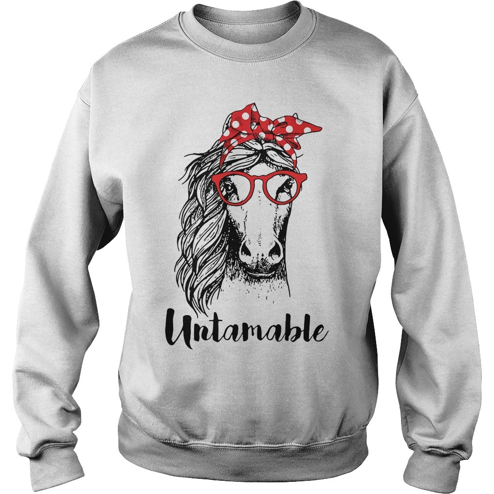 Horse wearing red bandana and red glasses untamable Sweater