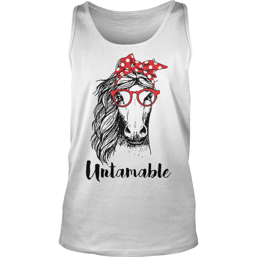Horse wearing red bandana and red glasses untamable Tank top