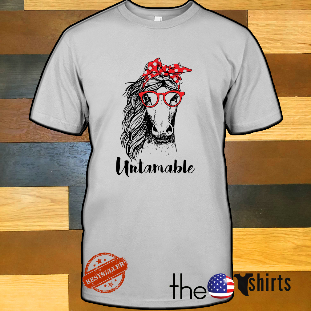 Horse wearing red bandana and red glasses untamable shirt