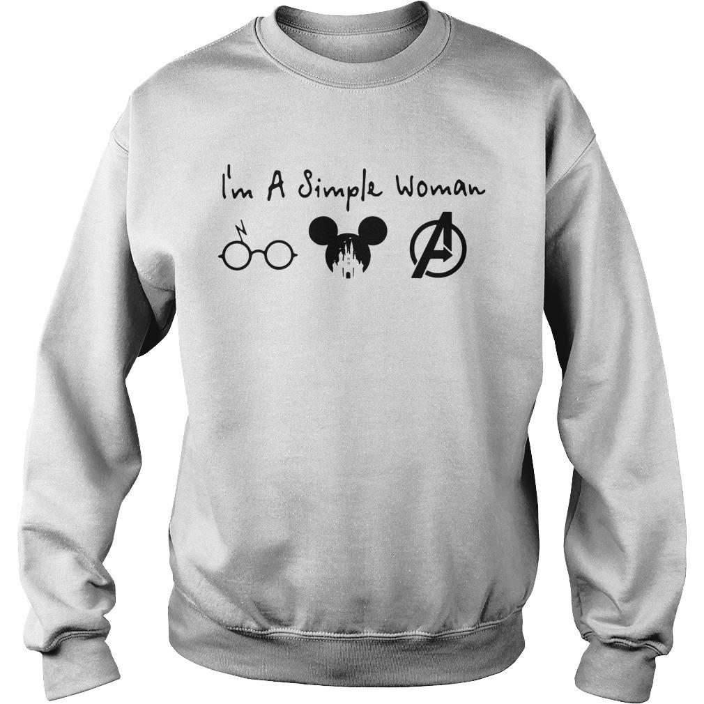 I'm a simple woman I like Harry Potter Disney and Avengers Sweater