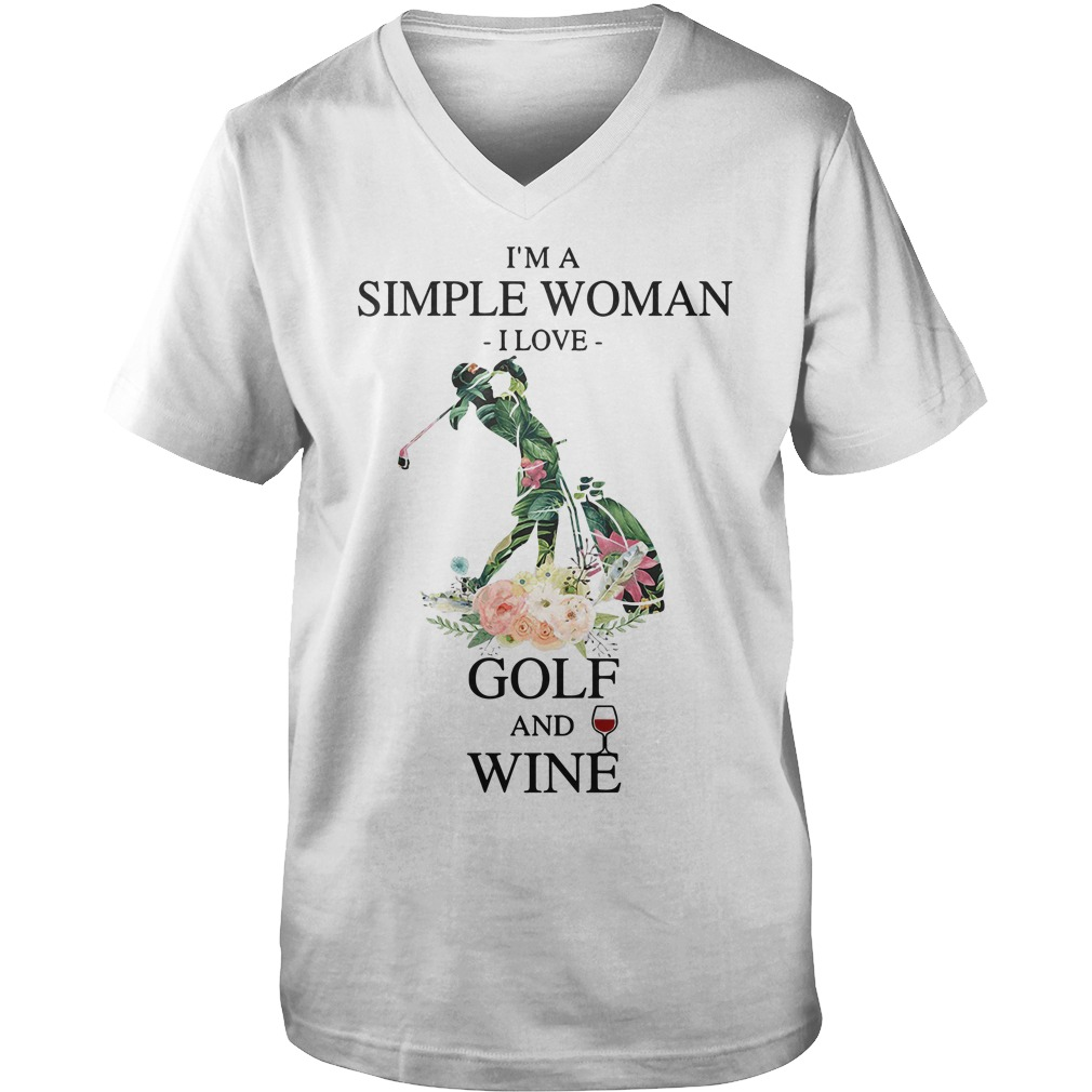 I'm a simple woman I love golf and wine green flower Guys V-neck