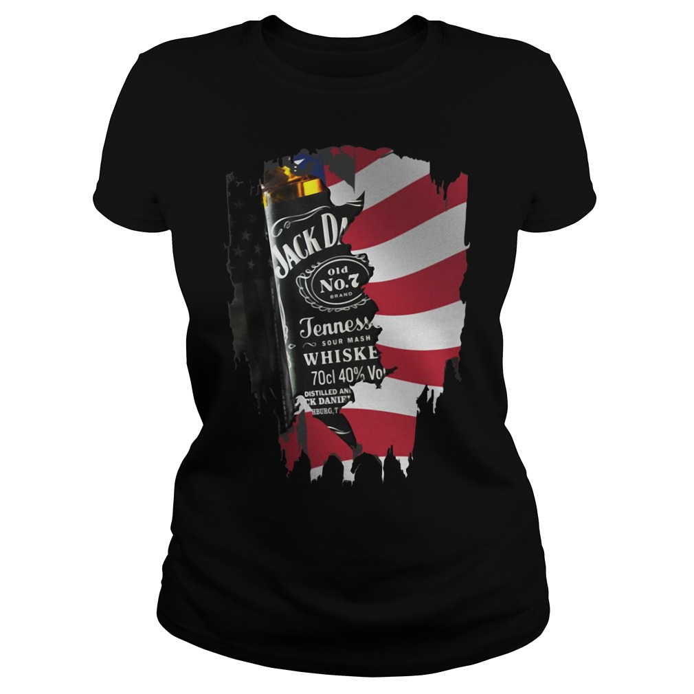 Independence day 4th of July Jack Daniel's America flag Ladies Tee
