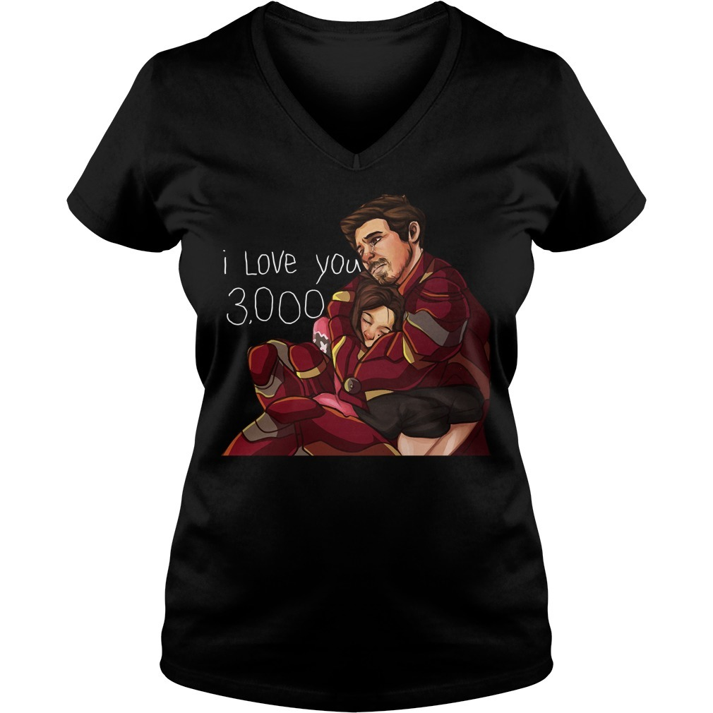 Iron man dad and daughter I love you 3000 times V-neck T-shirt