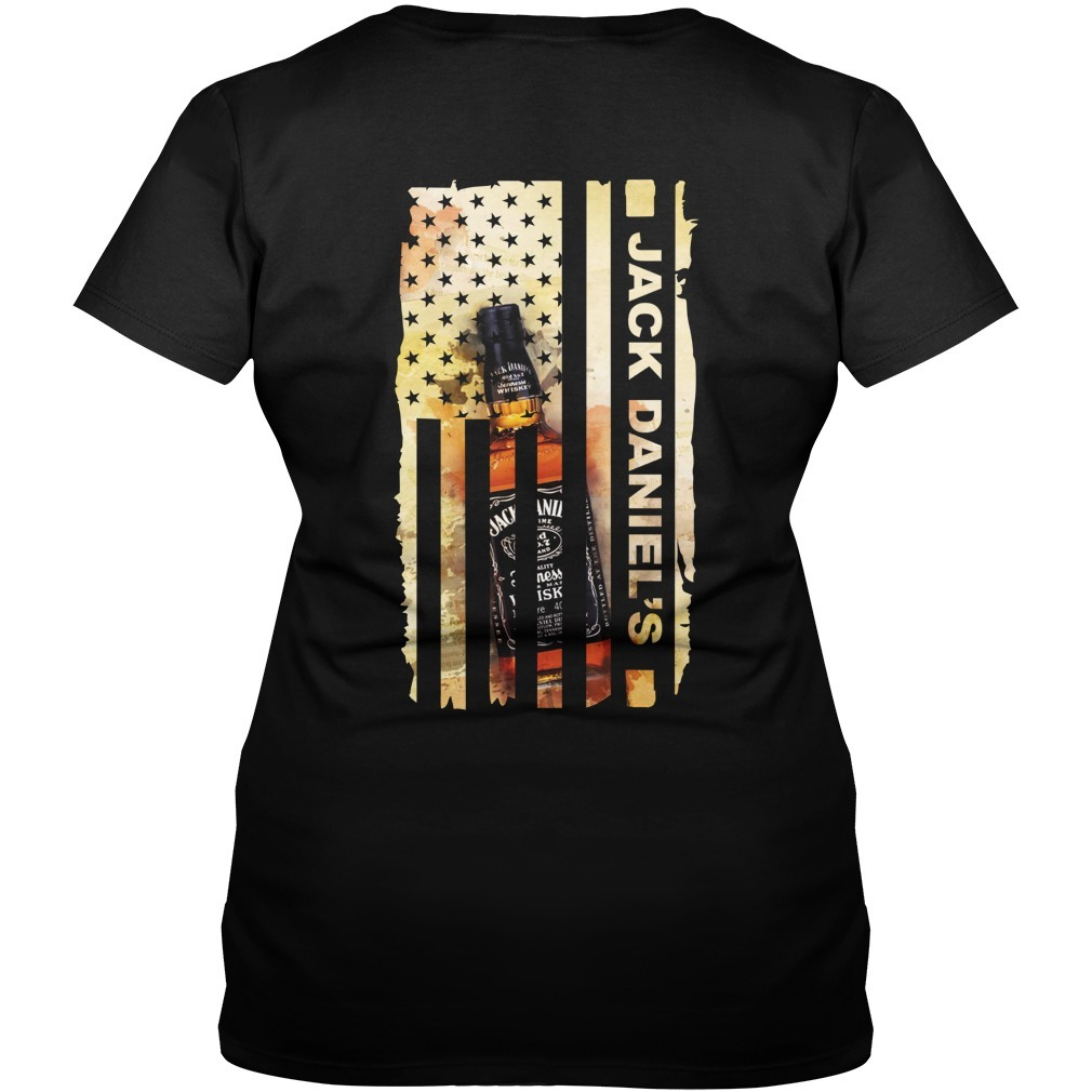 Jack Daniel's Veteran US flag V-neck T-shirt