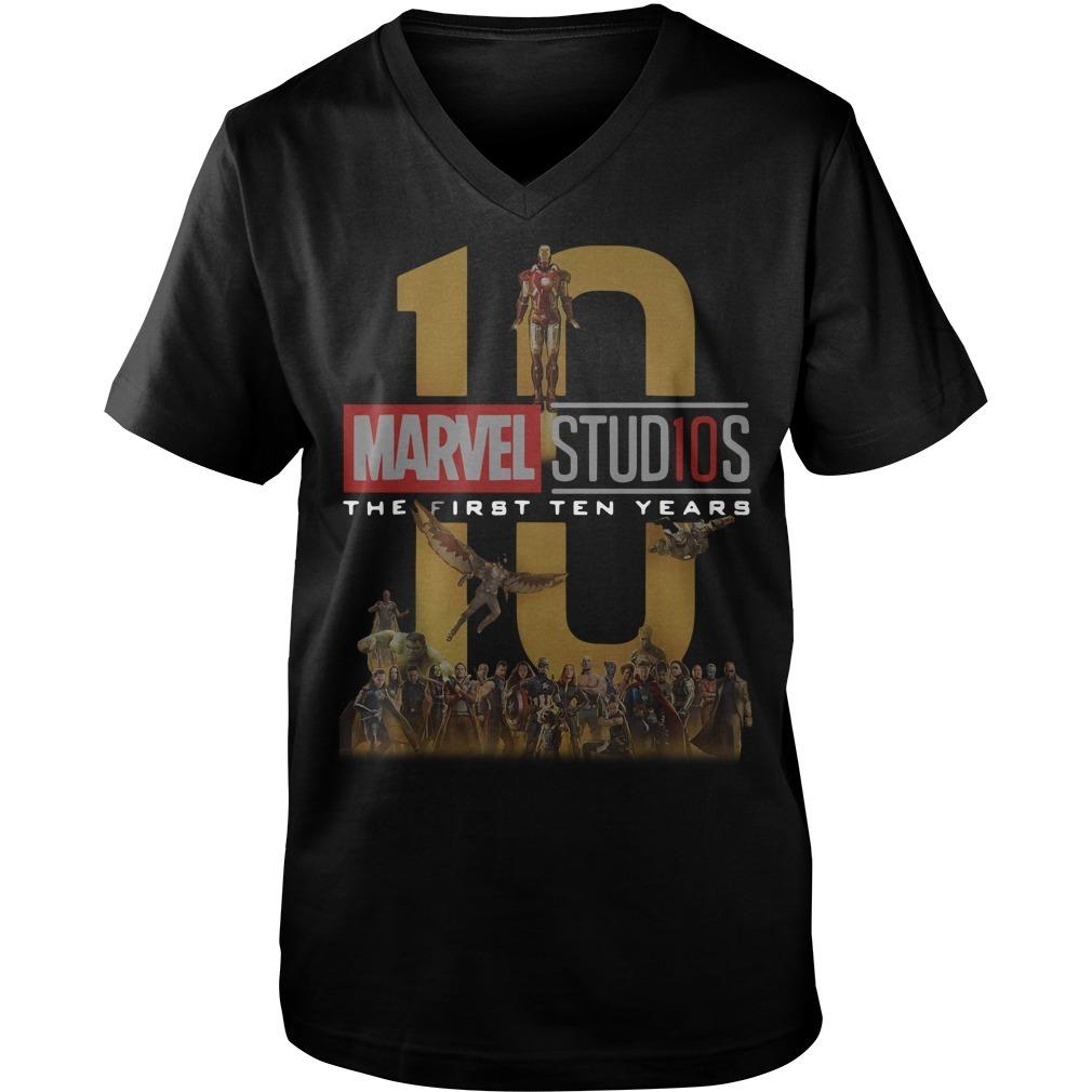 Marvel Studios the first ten years full cast Guys V-neck