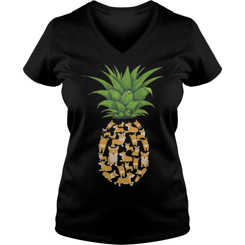 Pineapple Corgi V-neck T-shirt