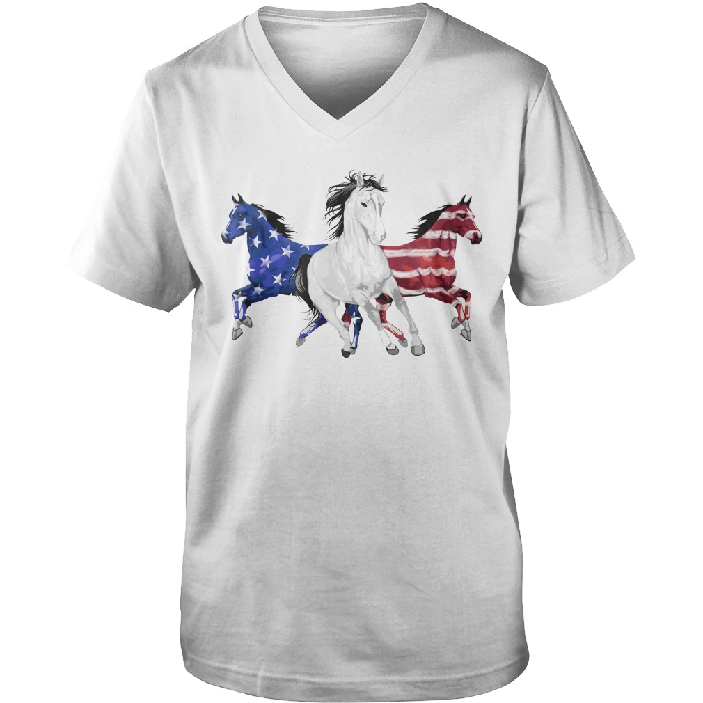 Red white and blue Horse American flag Guy V-Neck