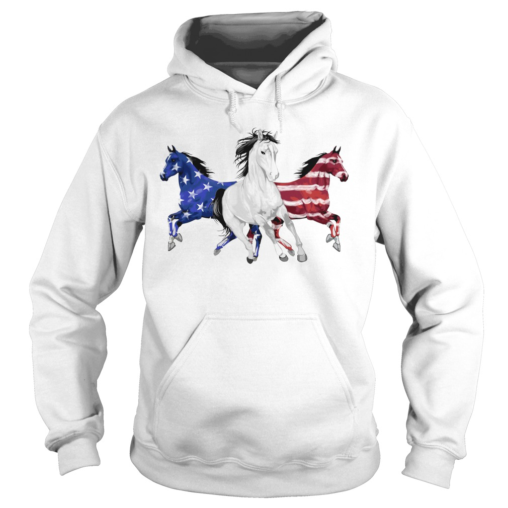 Red white and blue Horse American flag Hoodie