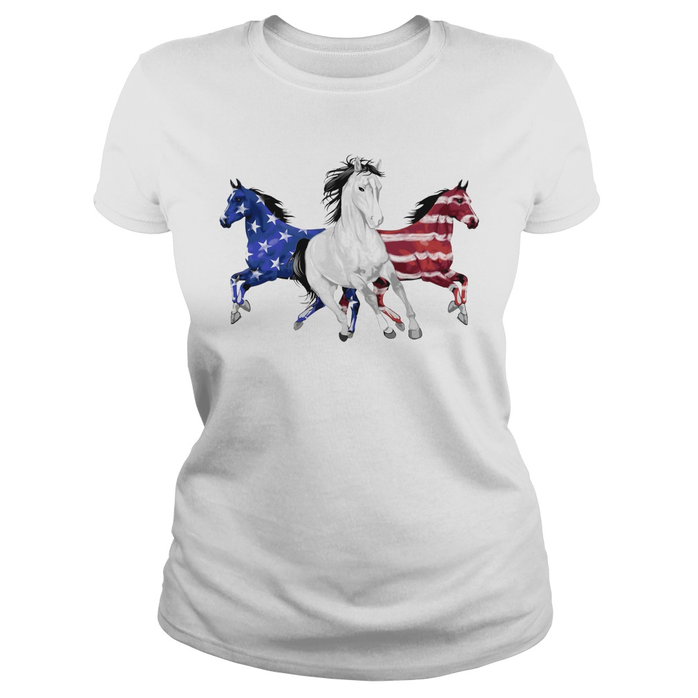 Red white and blue Horse American flag Ladies Tee