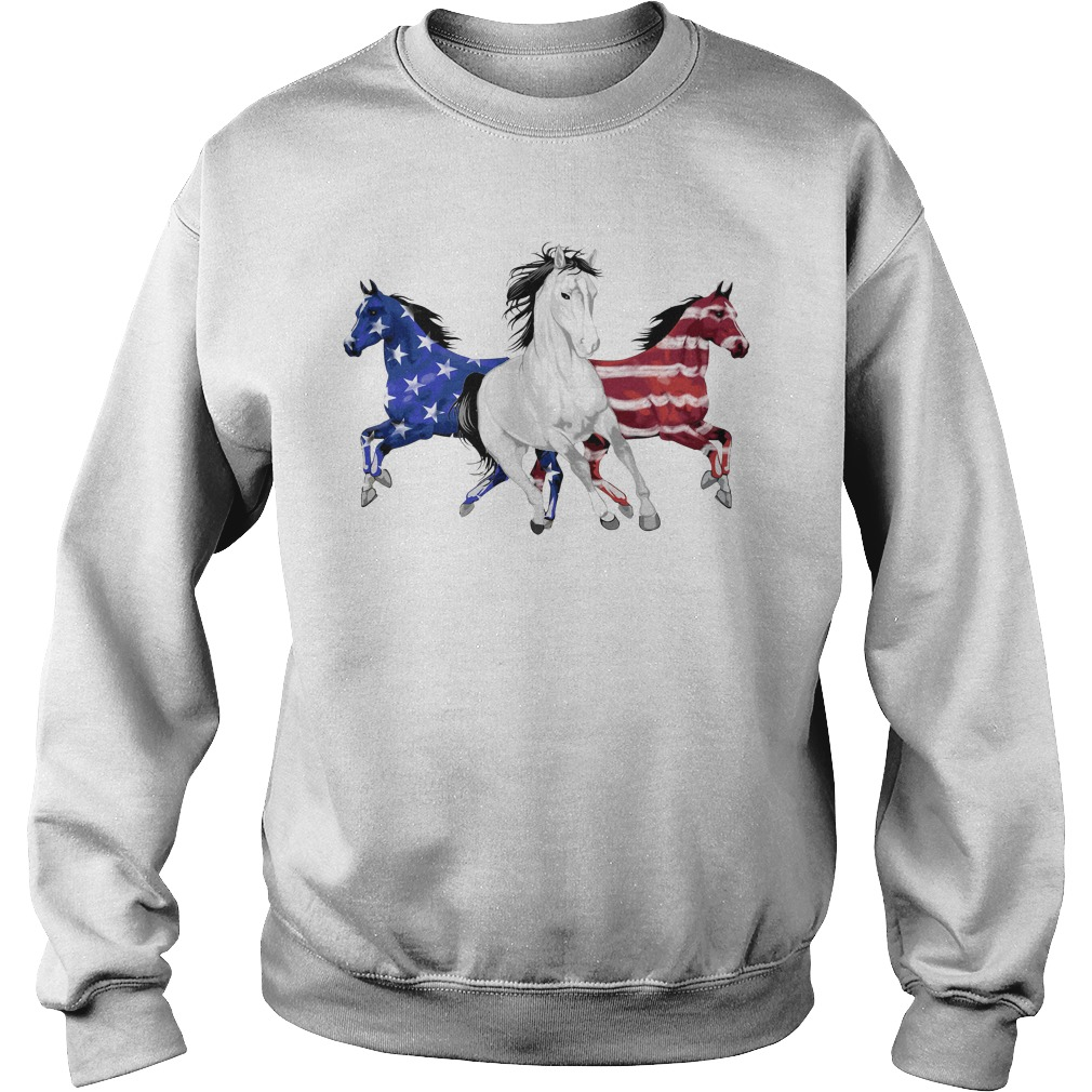 Red white and blue Horse American flag Sweater