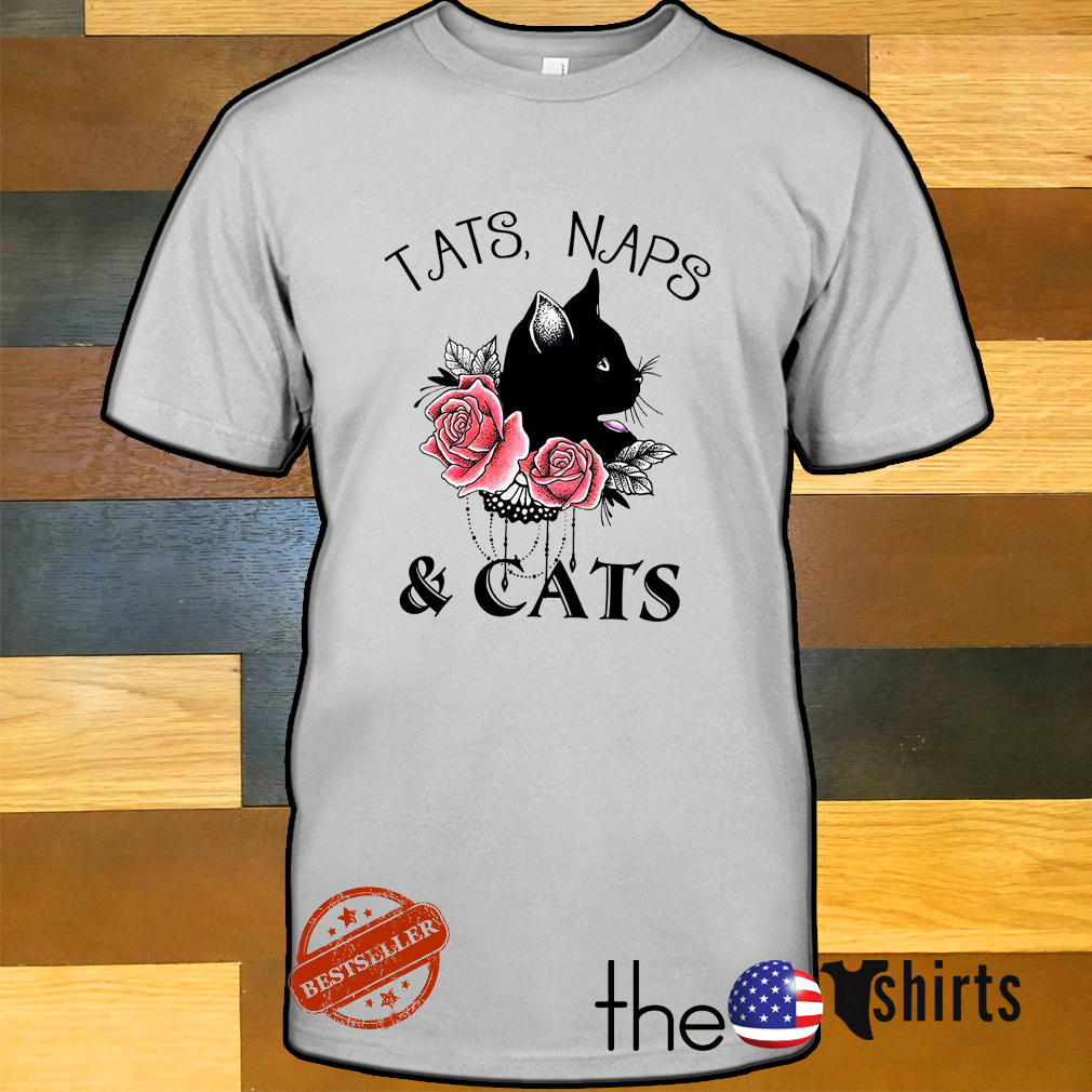 Roses and cat tattoos black tats naps and cats shirt