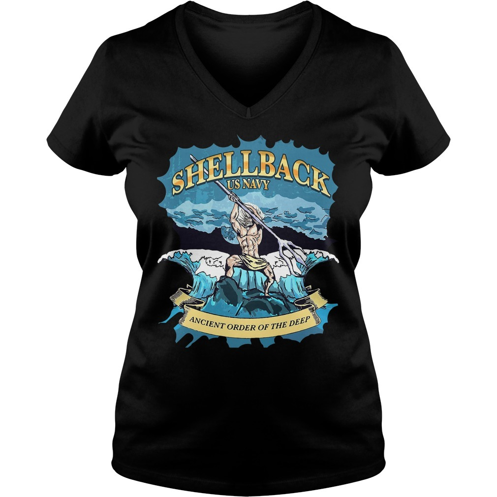 Shellback US Navy ancient order of the deep V-neck T-shirt