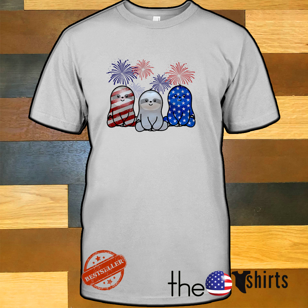 Sloths red white and blue American flag shirt